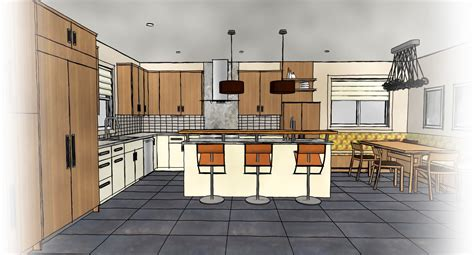 Drawn Kitchen Elevation Rendering Pencil And In Color