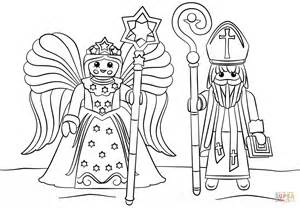 St Nickolas With Angel Coloring Page Free Printable