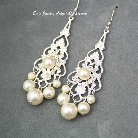 bridal chandelier earrings ivory pearl bridal earrings