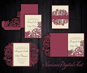 peonies set cricut wedding invitation template gate fold With cricut beach wedding invitations
