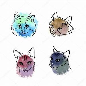 Hand drawn cat face. — Stock Vector © Nina_Susik #109531652