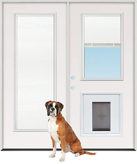 patio door with blinds and pet door discount miniblind half lite steel patio prehung