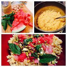 Mediterraneanstyle Watermelon, Pistachiomint Couscous