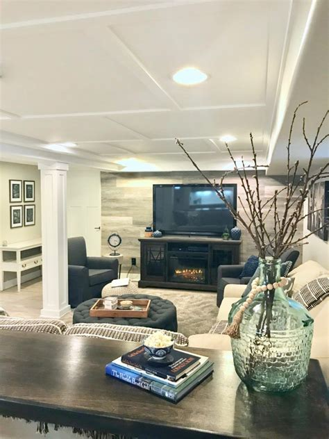 a hgtv fixer upper basement remodel with shiplap wood