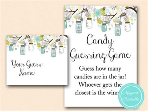 candy guessing game  jar rustic mason jars baby shower