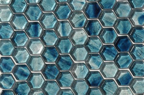 Fusion Glass Sky Blue Hex Pattern 09F   Glass Tile Home