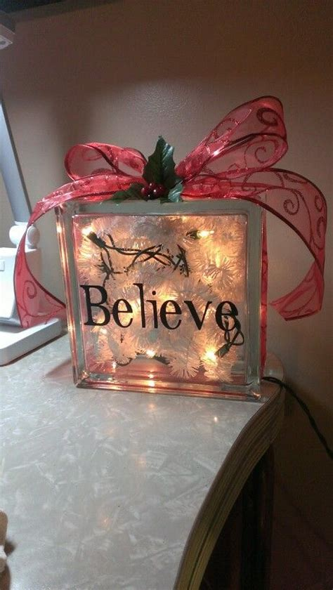 glass block christmas decoration holidaybirthdaygift