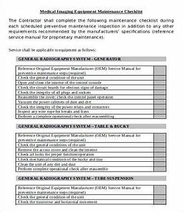 equipment checklist template 9 free word pdf documents With machine maintenance checklist template