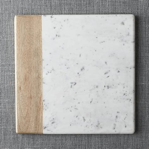 wood marble square platter reviews crate  barrel