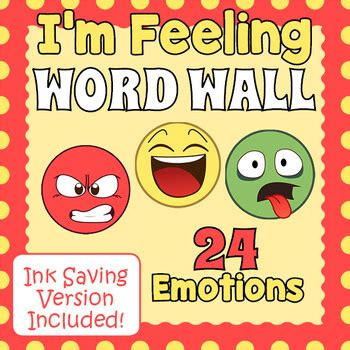 feelings  emotions word wall vocabulary slips  drag
