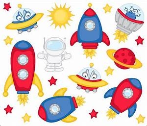 Rocket clipart cute alien spaceship - Pencil and in color ...