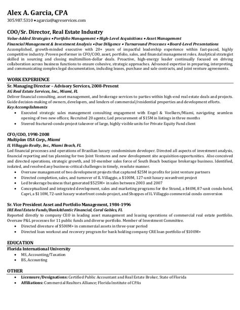 resume alex a real estate 8 13