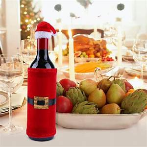 Christmas, Wine, Bottle, Set, Chic, Santa, Claus, Supply, Party, Decor, Gift, Clothing, Wine, Bottle, Cover