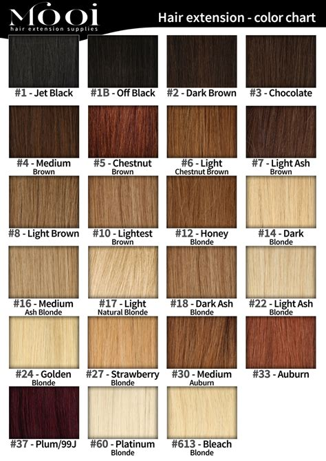 Hair Colors List Pictures by Colour Chart Mooi Hair Extensions