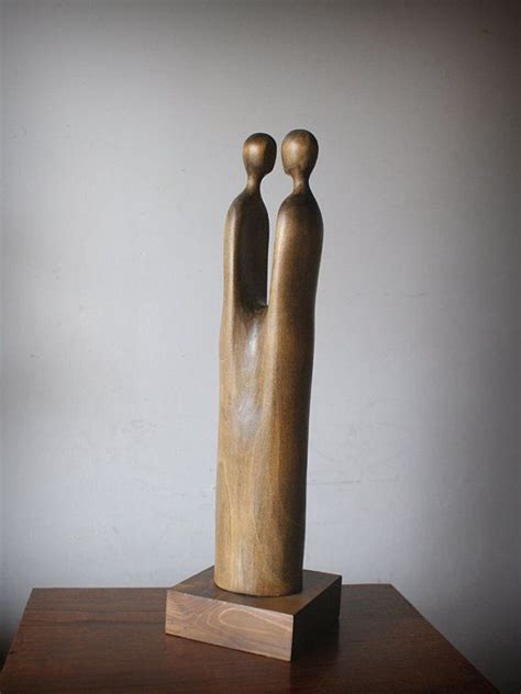 lovers modern wood sculpture unique hand carved wood