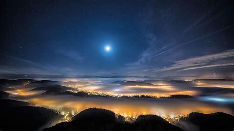 wallpaper night sky night city earth sky stars clouds