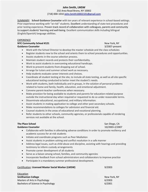 guidance counselor resume sles 28 images college