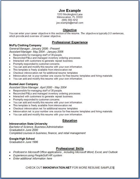 Free Resume Templates Exles demo resume free excel templates