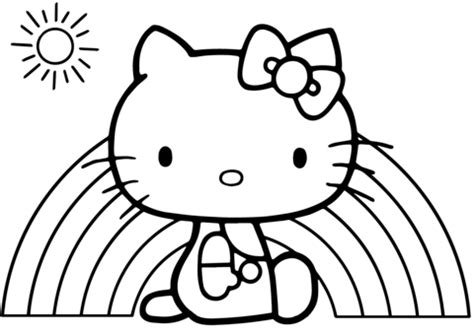 Hello Kitty Rainbow coloring page Free Printable
