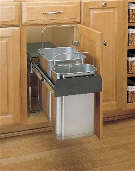 trash can kitchen sink 30 liter stainless steel pull out trash can 8 785 30 2ss 8584