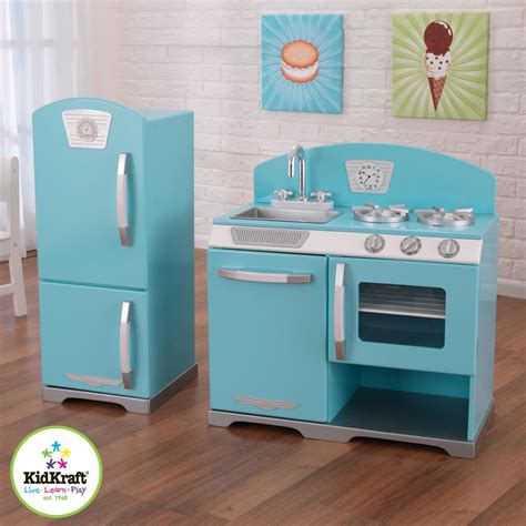blue retro kitchen  refrigerator