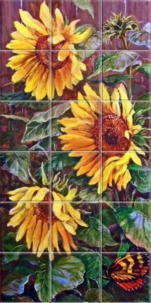 Sunflower Backsplash Ideas Sunlight Sunflowers Tile