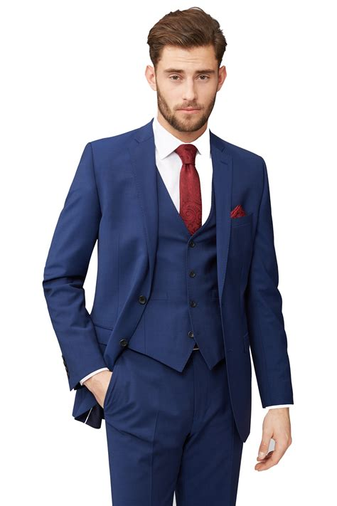 moss 1851 blue suit jacket tailored fit two button single breasted blazer ebay
