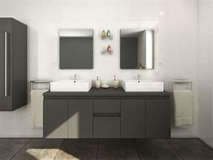 meubles de salle de bain lavita ii suspendus gris With meuble salle de bain double vasque et miroir