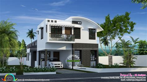 sq  curved roof mix house plan kerala home design