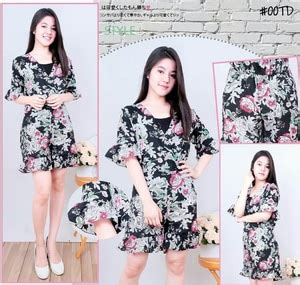 baju jumpsuit pendek motif bunga modern