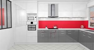 cuisine gris anthracite et rouge With cuisine mur rouge et gris