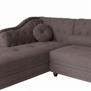 Canapé D Angle Chesterfield : canap d 39 angle brittish tissu taupe style chesterfield pas cher british d co ~ Teatrodelosmanantiales.com Idées de Décoration