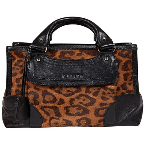 celine boogie model bag  leopard printed foal  black leather  sale  stdibs