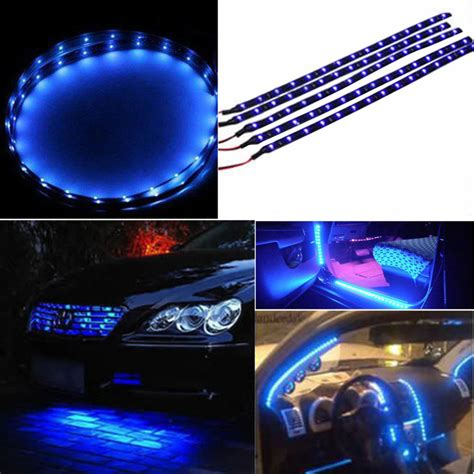 30cm waterproof 15 blue led car vehicle motor grill