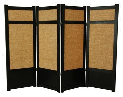 Low Jute Shoji Screen In Black W Woven Panels-asian