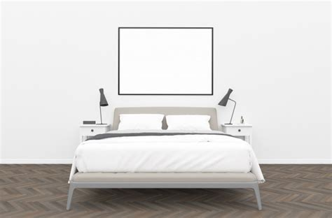 bedroom horizontal frame mockup photo premium