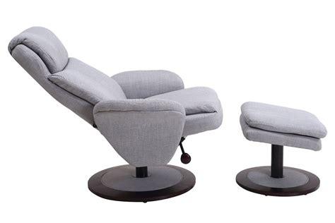 denmark light grey fabric swivel recliner with ottoman