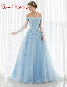 2017 light blue wedding dresses off the shoulder lace for Blue dresses to wear to a wedding