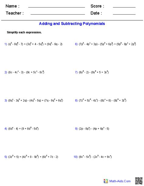 add polynomials worksheets adding and subtracting polynomials worksheets math aids