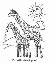 Coloring Pages Giraffe Printable Animal Colors sketch template