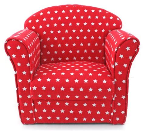 Kids Childrens Red With White Stars Fabric Tub Chair