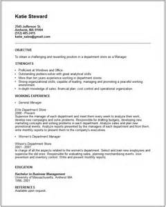 Retail Department Manager Resume by Department Store Manager Resume Exle Free Templates