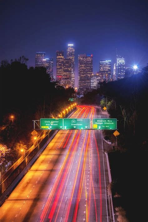 downtown los angeles photography print cityscape night