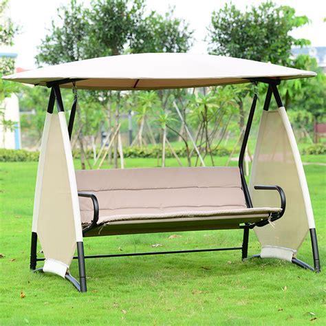 Outdoor Covered Swing Bench Wcanopy Seats 3 Garden