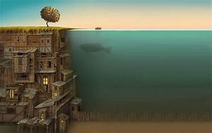 Surreal, Abstract, Anime, Sea, Whale, Artwork, Fantasy, Art, Creature, Split, View, Fish, Ladders