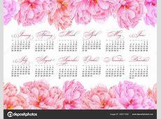 Elegant printable calendar 2019 Watercolor pink peony