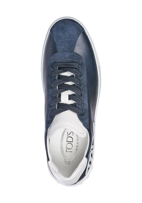 tods mens gommino sneakers  blue suede leather italian boutique