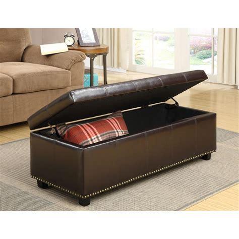 brown leather storage ottoman simpli home kingsley rectangular bonded leather storage