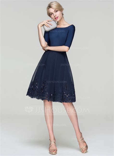 lineprincess scoop neck knee length tulle cocktail