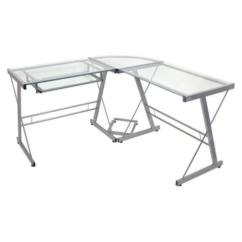 glass top l shaped desk walker edison l shaped glass top computer desk in silver